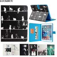 LUCKBUY New For Apple IPad 6 Cases Covers Silk Pattern Cats Stand Wallet Flip PU Leather