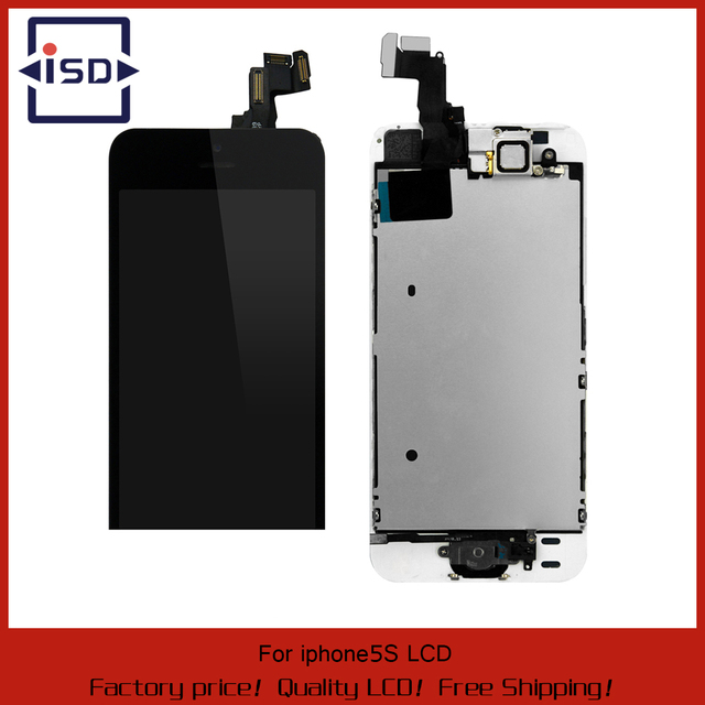 100% Tested White/Black Color for iphone 5S LCD Display with touch screen digitizer assembly complete+home button+front camera
