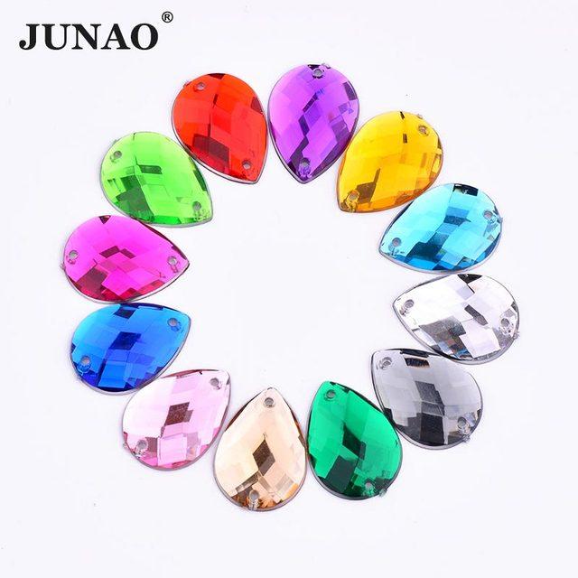 JUNAO 18 25mm Sewing Mix Color Big Size Drop Rhinestones Clear Large Strass  Appliques Flat 7836e83d4b63