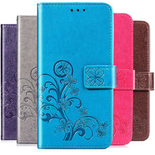 Redmi GO Flip Wallet Case For xiaomi redmi PU Leather Phone 3D Clover Emboss Cover