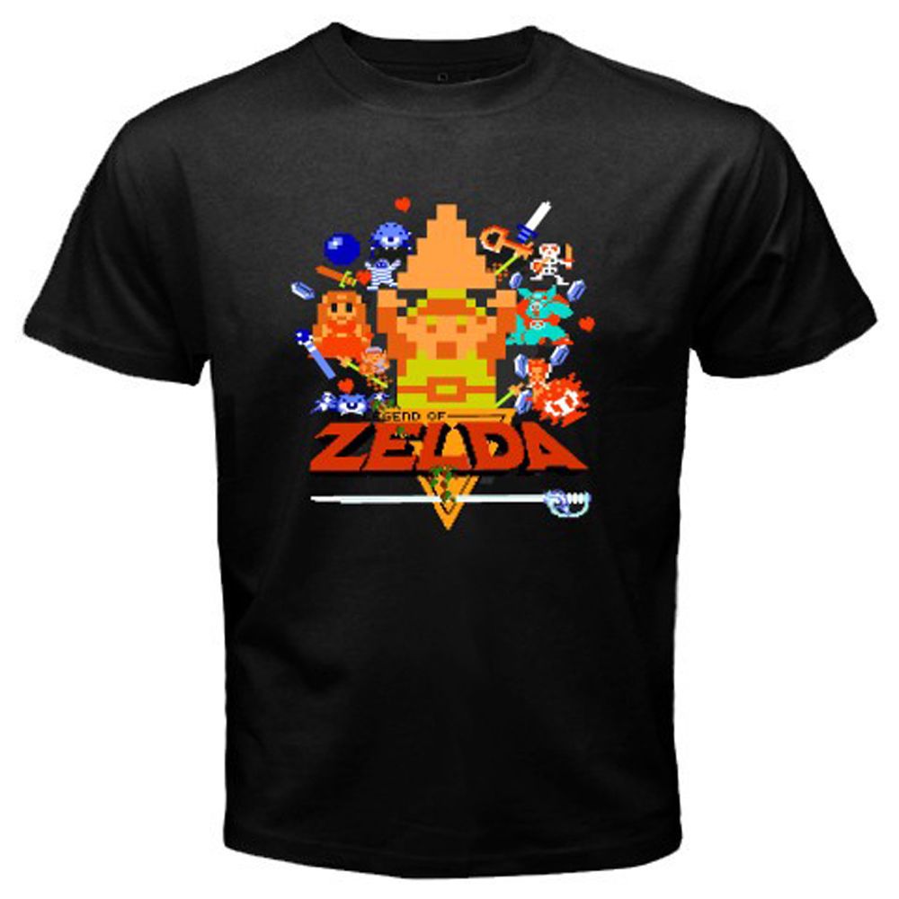 New The Legend of Zelda Retro 8 Bit Video Games Men's Black T-Shirt Size S-3XL