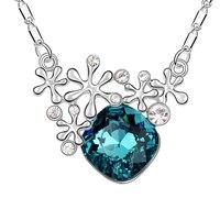 Colar de Pingente de floco De neve Azul Áustria Cristal Colares Estilo Vintage Colares Moda Moda Feminina Bijoux Atacado 3 Cores