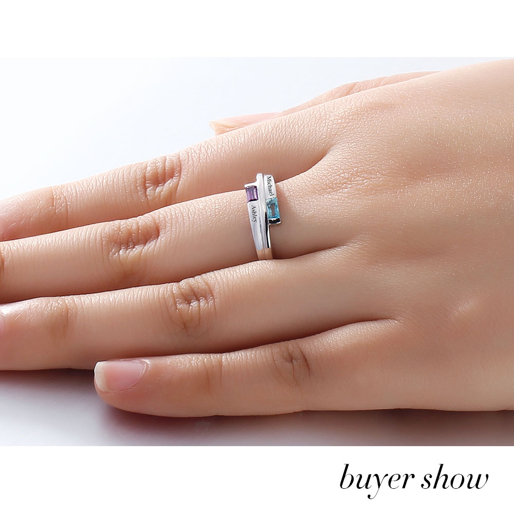 ce8c053c26 Personalized DIY Promise Name Rings Couple Stone 925 Sterling Silver Cubic  Zirconia Lover Ring Free Gift Box (Silveren SI1782)-in Rings from Jewelry  ...