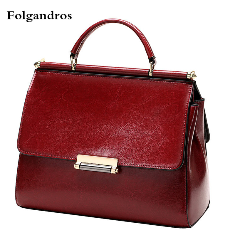 2018 New Women Genuine Leather Handbags Luxury Messenger Tote Bags Oil Wax Cowhide Handbags Retro Ladies Shoulder Bag Sac A Main