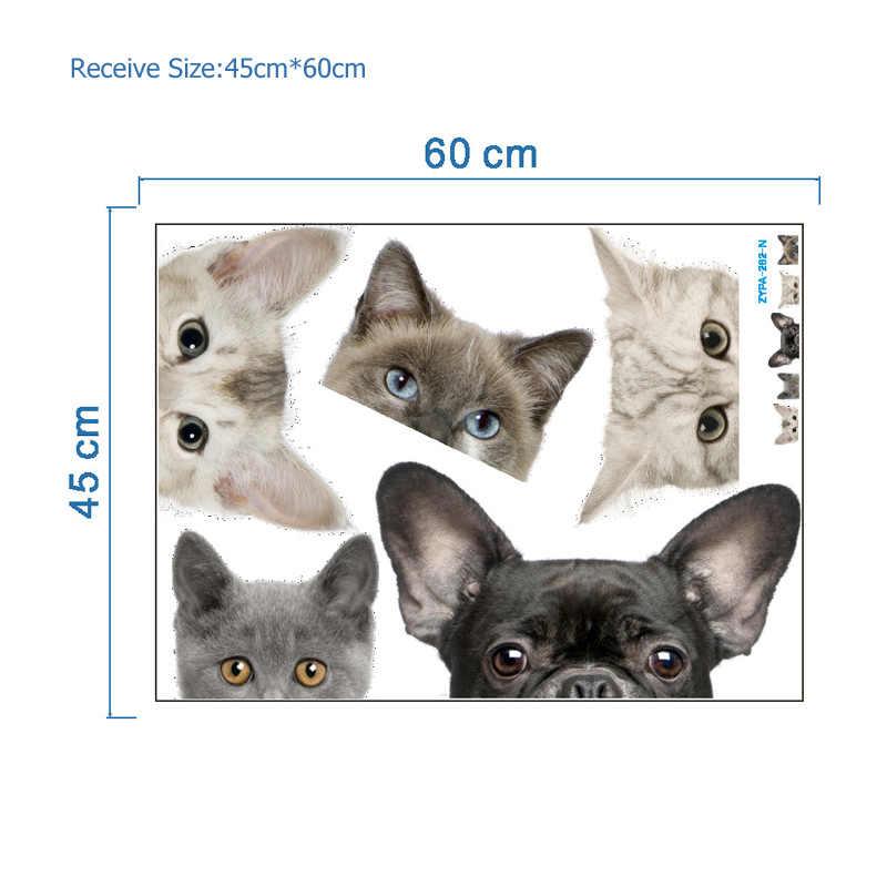 재미 있은 3d 고양이 개 반 얼굴 엿보기 자동차 스티커 벽 배경 아트 데칼 장식 귀여운 동물 벽 스티커 홈 장식