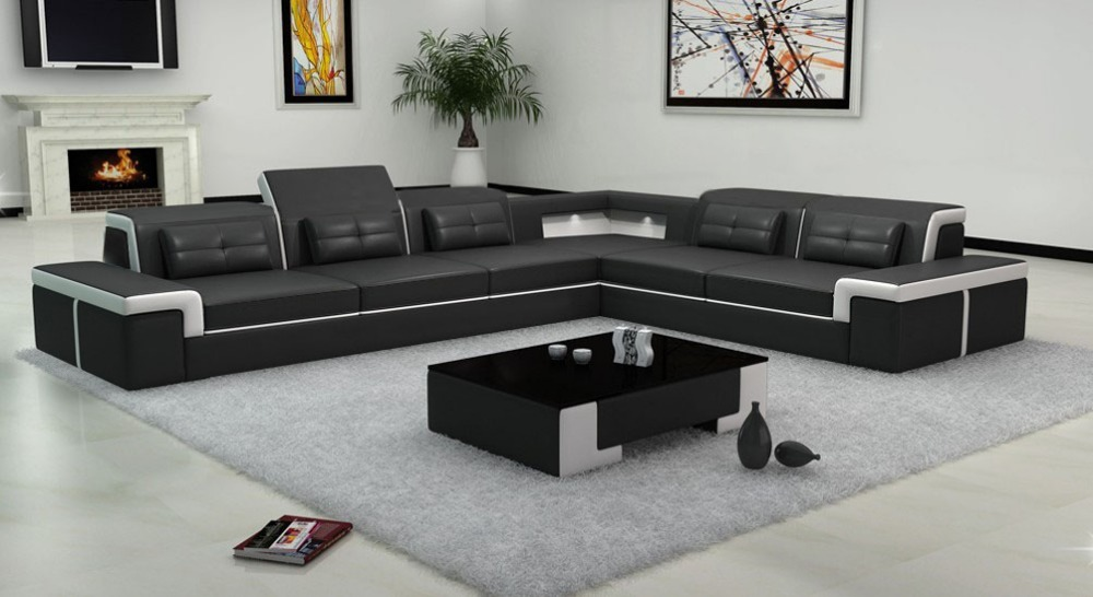 Buy black color sectional leather sofa - Sofas elegantes diseno ...