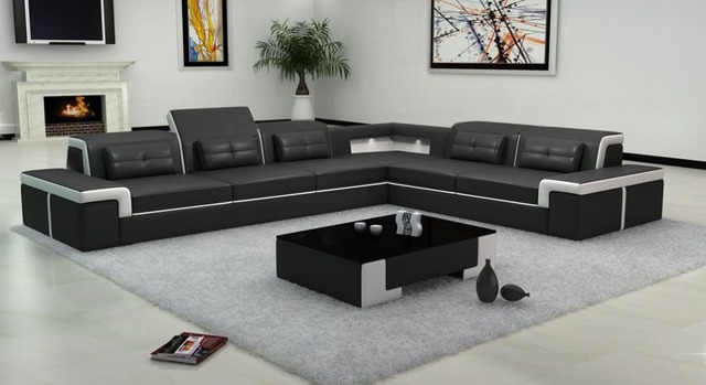 Black Color Sectional Leather Sofa B2021