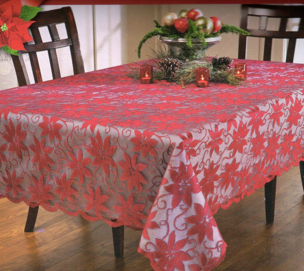 Free Shipping Christmas Red Poinsettia Floral Polyester