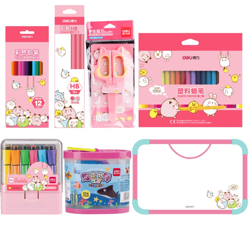 Full set Cute Kids Stationery Set Cartoon Design Child School Supplies Boy And Girl Pencil Case 2 Colors Deli 9676 cartoon boy girl design resin desktop decoration