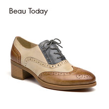 BeauToday Oxfords Donne Scarpe di Cuoio Genuino Wingtip Lace-Up Punta Rotonda Misto di Colori di pelle di Pecora Scarpe Brogue Tacco Grosso 15116(China)