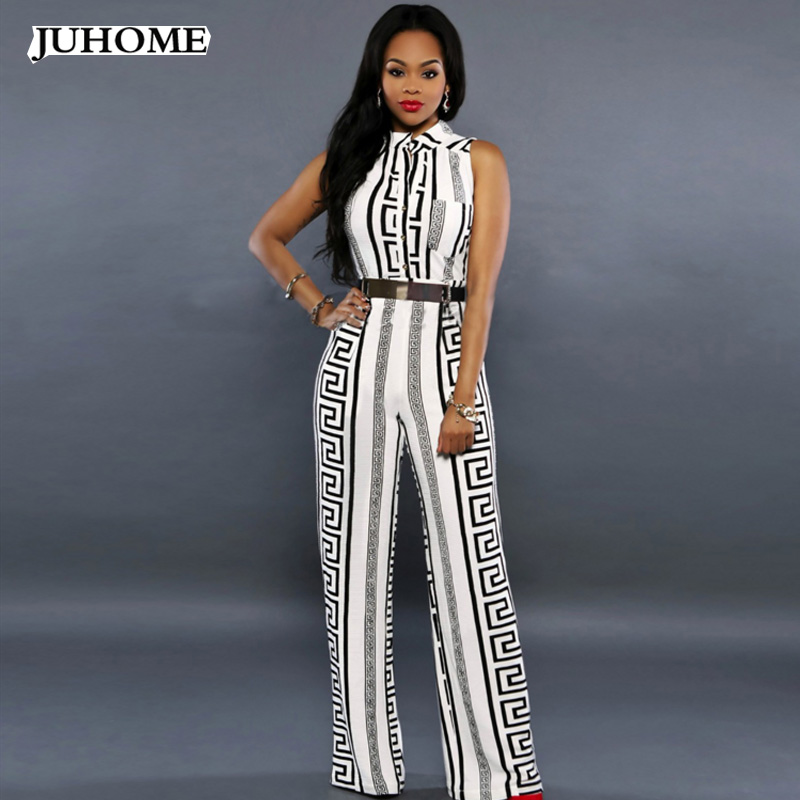 2017 Casual Straight with Sashes Jumpsuit striped african office work long Trousers coveralls fashionable macacao for women suit ...