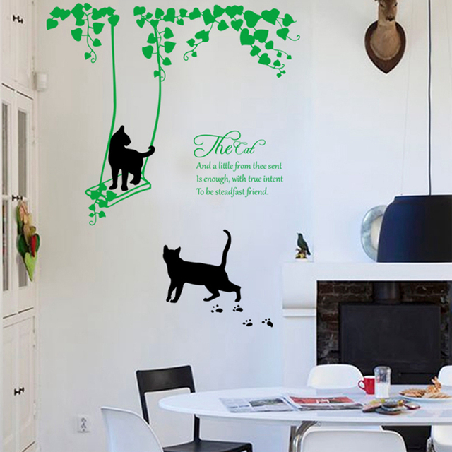 zs sticker black cat wall sticker home decor vinyl wall decal home