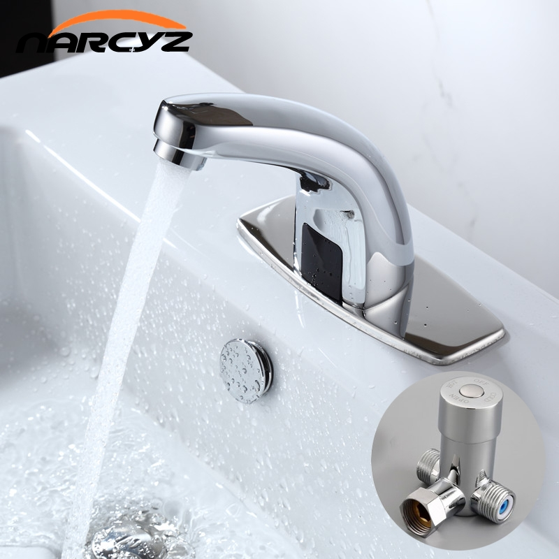 Hot & Cold Bathroom Automatic Touch Free Sensor Faucets water saving Inductive electric Water Tap mixer battery power HZY-21 touch free water saving chrome