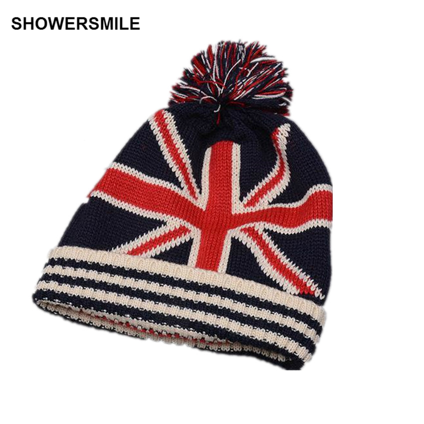 SHOWERSMILE Brand Flag Beanie Winter Kniting Hat With Pom Pom British Flag Stars Unisex Men Womens Skullies Beanies Accessories showersmile brand sherlock holmes detective hat unisex cosplay accessories men women child two brims baseball cap deerstalker