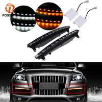 POSSBAY LED DRL Daytime Running Lights Daylight Waterproof Signal Light for Audi Q7 2005 2006 2007 2008 2009 2010 Pre facelift