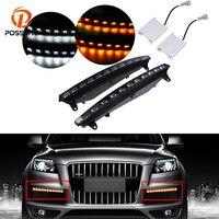 POSSBAY LED DRL Daytime Running Lights Daylight Waterproof Signal Light for Audi Q7 2005 2006 2007 2008 2009 2010 Pre facelift