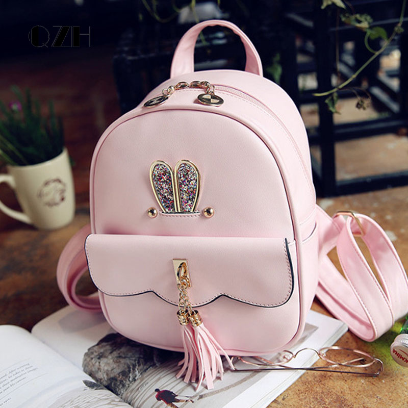 QZH Backpack Small PU Leather Princess Girls School Bags Cute Kids Backpacks Shoolbag Female Teenager Girl Travel Back Pack картридж canon 719 для lbp 6300dn 6650dn mf 5840dn 5880dn