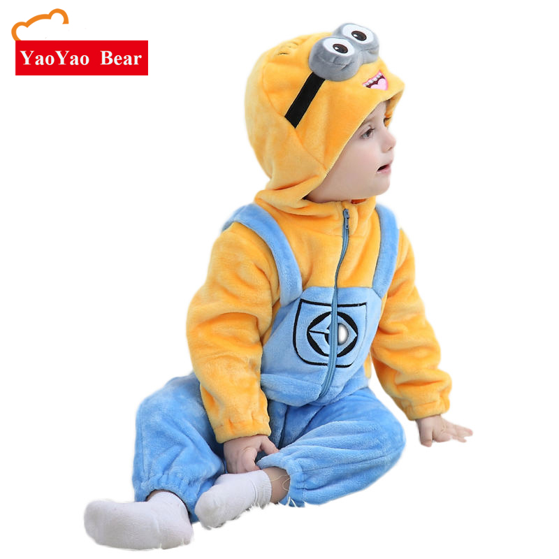 Minions Baby Clothes Romper Infant Kostum Baru Spring Hooded Flannel Toddler Romper Jumpsuit Baby Clothing Baby Costume