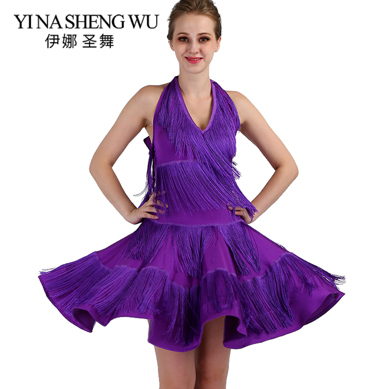 New Women Latin Dance Practice Clothes Tassel Big Swing Skirt Latin Show Dance Competition Dress Adult