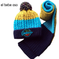 Hot Sale Brand Boy Girl Unisex Hat+Scarf Kids Autumn Winter Warm Beanie Hat Cute Baby Hat Hooded Scarf Knit Cap Toddler XL664