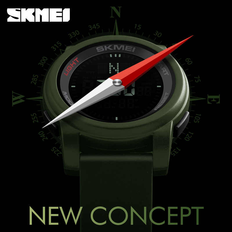 2017 SKMEI Compass Sports Watches Men Outdoor World Time Countdown Waterproof Led Digital Wrist watches Relogio Masculino