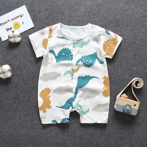 2019 novo verao conjuntos de roupas meninos meninas gaze de algodao do bebe terno macacao