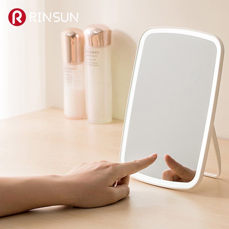 LED Touch Screen Internal Battery Makeup Mirror Table Desktop Makeup Portable LED Lighted Makeup Mirror Cosmetic Hand Mirror