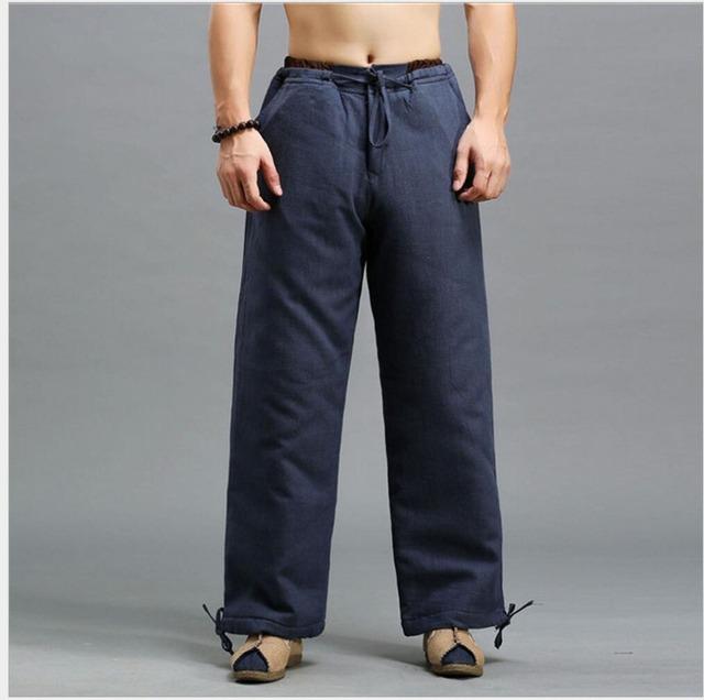 2016 verão e outono dos homens novos calça casual calças de linho soltas calças Sólidos calças de cordão Elástico não desbotar