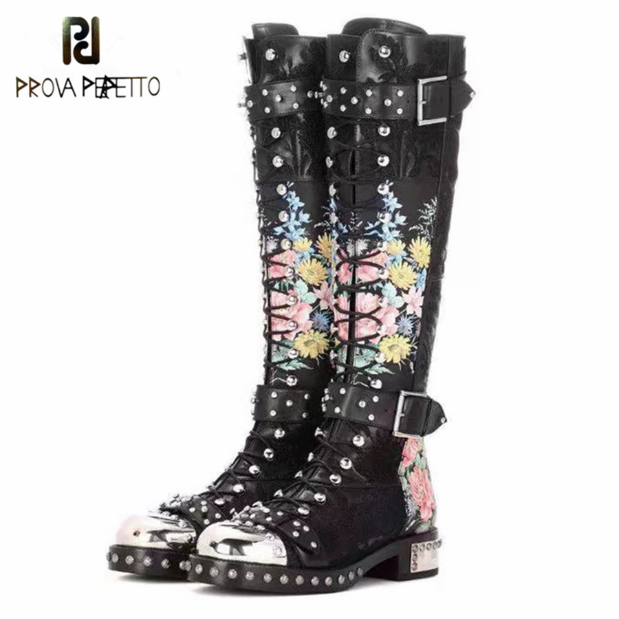 Prova Perfetto Flower Print Women Knee High Boots Fashion Rivets Studded Riding Botas Mujer Platform Buckle Lace Up High Boots prova perfetto yellow women mid calf boots fashion rivets studded riding boots lace up flat shoes woman platform botas militares