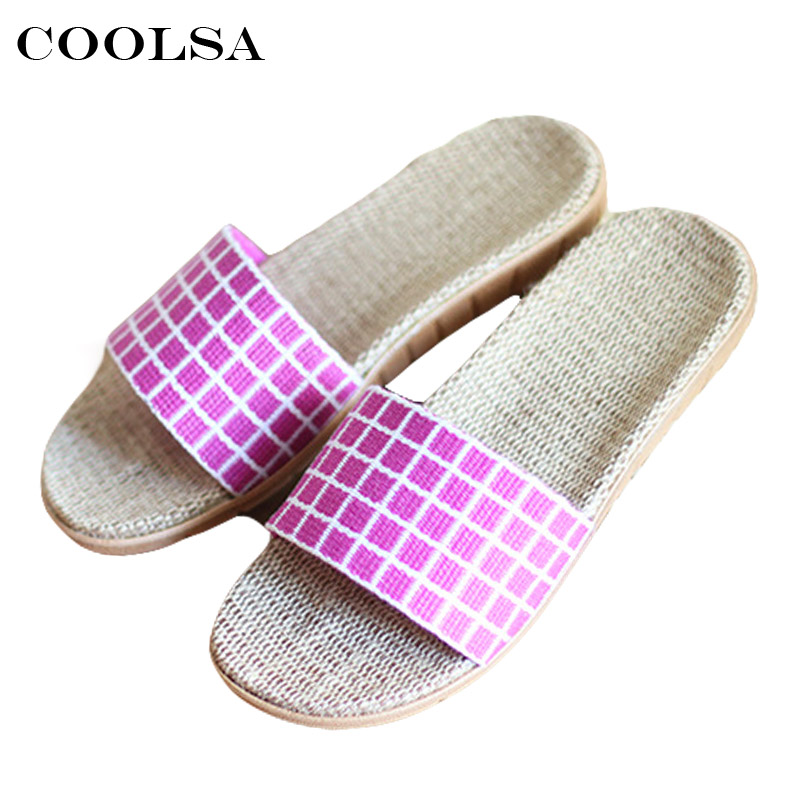 Coolsa Hot New Summer Women Flax Flip Flop Plaid Linen Slippers Flat Non-slip Slides Indoor For Woman Sandals Casual Beach Shoes coolsa new summer linen women slippers fabric eva flat non slip slides linen sandals home slipper lovers casual straw beach shoe page 2