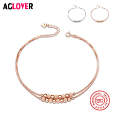 925 Sterling Silver Box Chain Rose Gold Beaded Bracelets For Women Simple Style Female Prevent Allergy Sterling-Silver-Jewelry almei 8ct teardrop citrine bead 925 sterling silver rose gold color vintage neck jewelry decoration for women with box 40