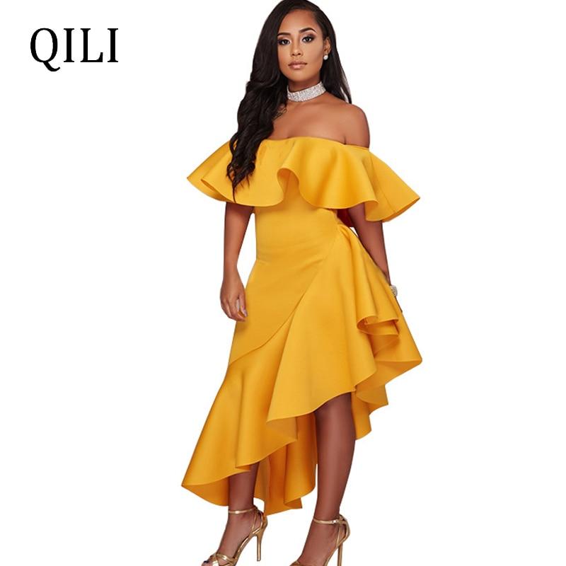 QILI Sexy Off Shoulder Ruffles Dress Red Black Yellow Asymmetrical Loose Dresses Elegant Lady Fashion Plus Size