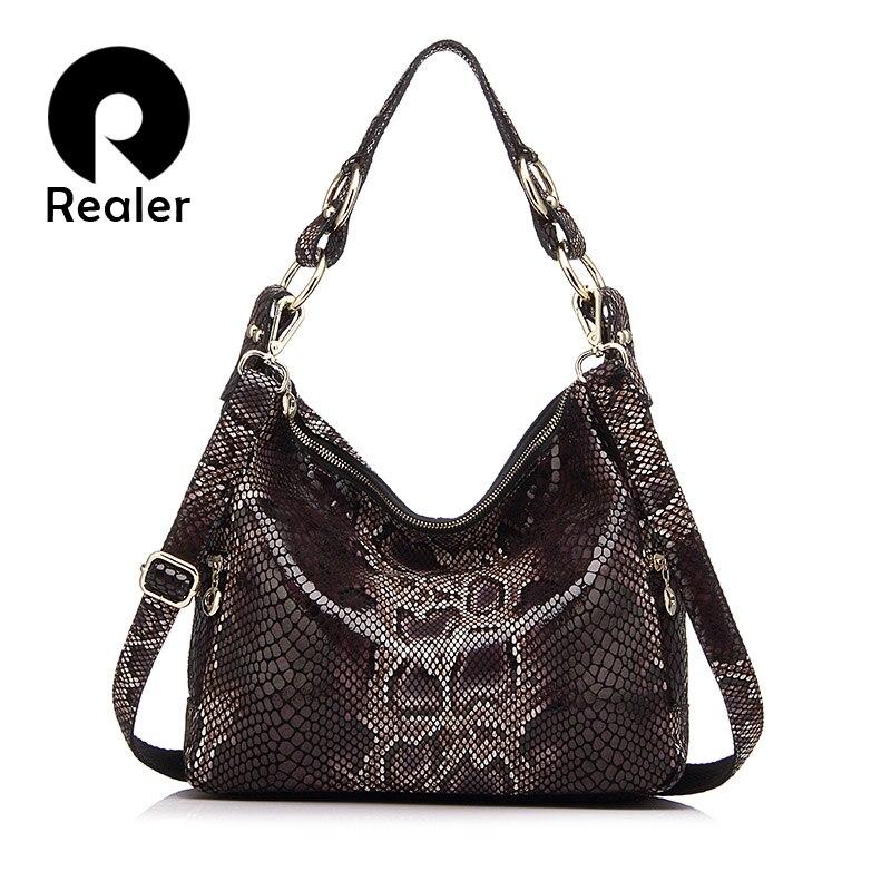 a9302291aaf0 REALER Дизайнерская женская сумка из натуральной кожи со змеиным узором,  модная дамская сумка-мессенджер