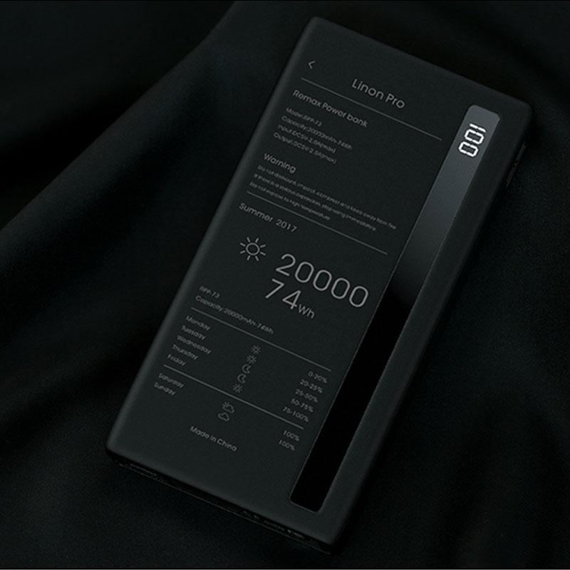 Внешний аккумулятор REMAX 20000 мАч, универсальный портативный внешний аккумулятор мобильный телефон, зарядное устройство с двумя портами USB дл...