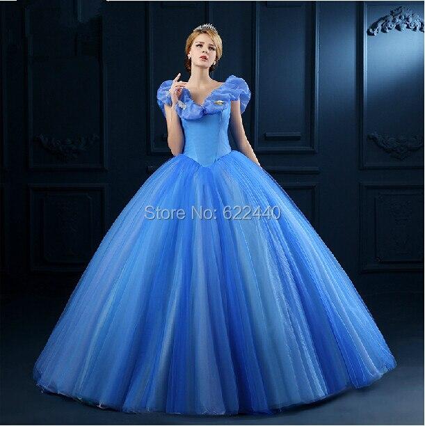Superbe cendrillon princesse robe bleu manches bouffantes for Robe de cendrillon pour mariage