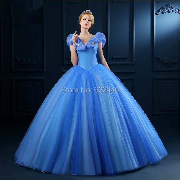 2a85d6b6926 Superbe cendrillon princesse robe bleu manches bouffantes col v robe de bal  de mariage robes de