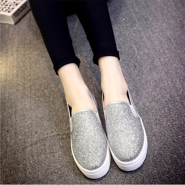 Lantejoulas primavera Novos Sapatos No Final Do Loose-Pão Sapatos de Lazer Sapatos Baixos sapatos Preguiçosos. SZ-a6