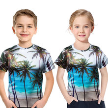2019 Summer Boy T-shirt 3d Coconut tree Print Children Short Sleeve T Shirt Casual Round Neck Beach Pattern Kids Fashion Clothes