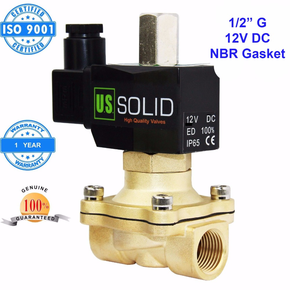 U.S. Solid 1/2 inch Brass Electric Solenoid Valve 12V DC G Thread Normally Open water, air, diesel.. ISO Certified