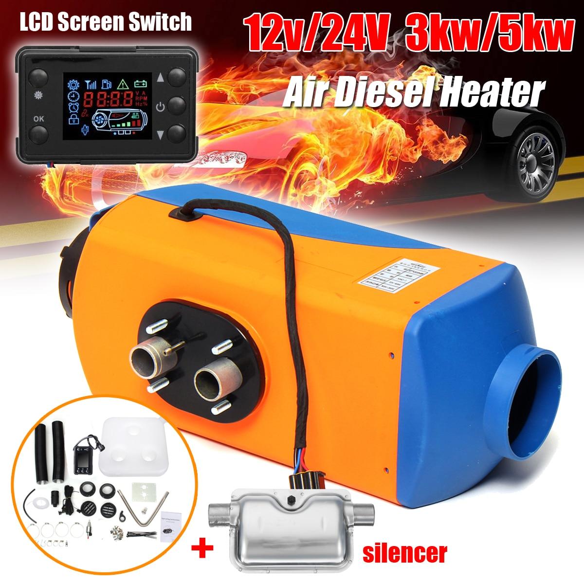 ew 12V 5KW Diesel Air Heater Tank 2x Vent Duct Thermostat Caravan Motorhome Us