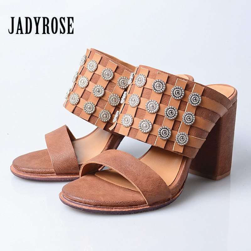 Jady Rose Rivets Studded Women Gladiator Sandals Chunky High Heel Slippers Platform Shoes Woman Sandalias Mujer Summer Slides prova perfetto hollow out ladies gladiator sandals women platform pumps rivets chunky high heel shoes woman sandalias mujer