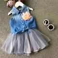 Новые джинсы топ блузка рубашка + пряжи юбка девушка одежда набор с цветок детская одежда набор костюм детская одежда летний ребенок одежда