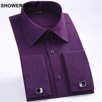 SHOWERSMILE French Cuff Shirts Mens Purple Dress Shirt Regular Fit Cotton Spring Summer Formal Shirt Male Plus Size 6xl Clothing