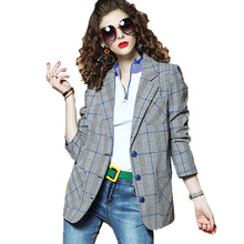 Women Suit Jacket 2019 Spring Autumn New Fashion Casual Plaid garb Female Long-sleeved Lapel Elegant Coats N158