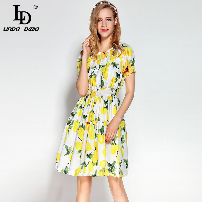 High Quality 2017 Runway Designer Summer Dress Women's Slash neck Above Knee Mini Midi Yellow Lemon Print Casual Dresses
