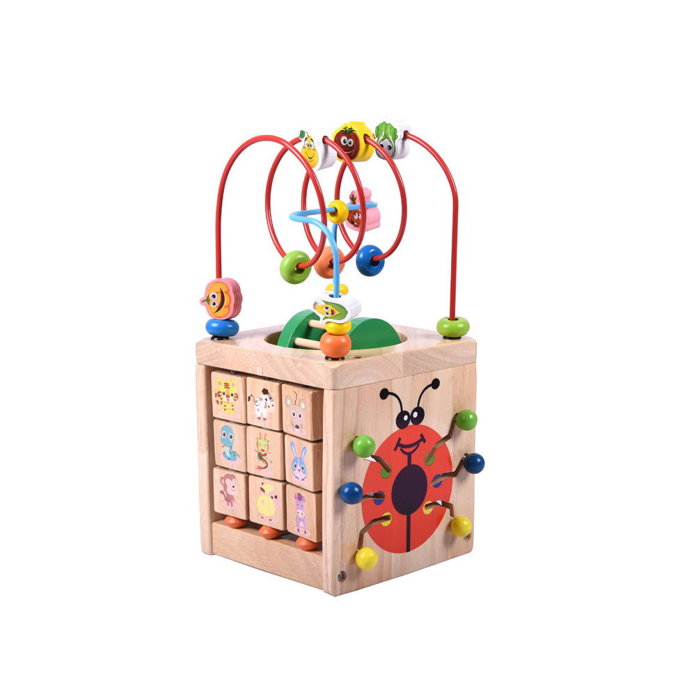 6 In 1 Wooden Bead Maze Activity Center Box Cube Wood Toys For Kids Multipurpose Educational Skill Improvement wooden bead maze activity center box multi function round beads box cube wood toys unisex kids multipurpose educational toy