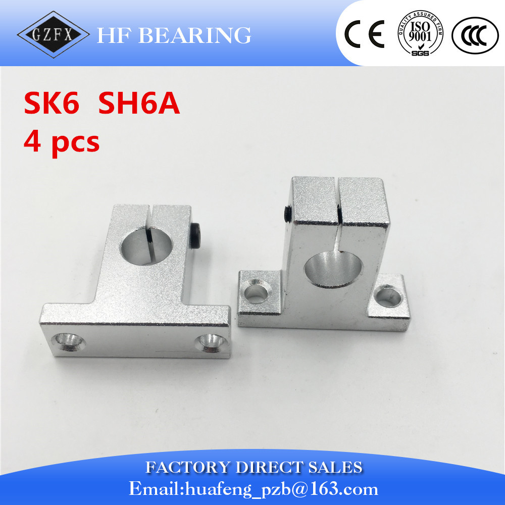 Free shipping 4pcs SK6 6mm Linear Shaft Support CNC Router SH6A for 6mm linear rail rod free shipping 2pcs sk40 40mm shaft support cnc router sh40a