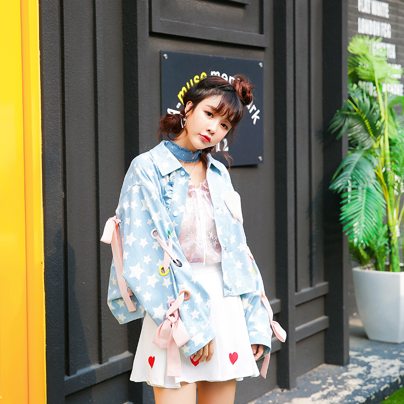 Prinzessin sweet lolita jacken Herbst air tasche herzförmigen bogen gurt getragen lose fledermaus ärmel Sterne Hong Kong geschmack jacke VC81-in Basic Jacken aus Damenbekleidung bei  Gruppe 3