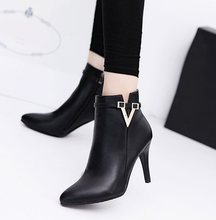 2018 Hot Spring Autumn Stiletto Thin High Heels Pointed Toe Faux Leather Zipper Style Sexy Ankle Womens Boots Bota Feminina(China)
