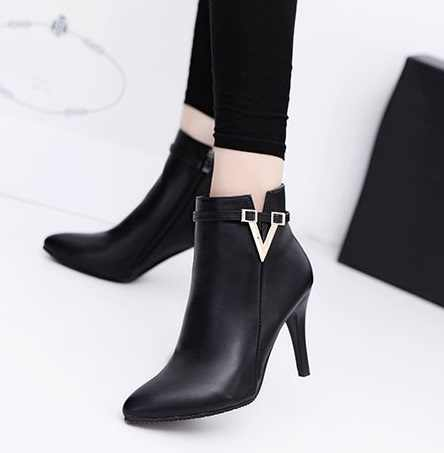2018 Hot Spring Autumn Stiletto Thin High Heels Pointed Toe Faux Leather Zipper Style Sexy Ankle Womens Boots Bota Feminina